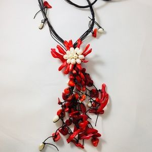 Red dyed Shell Freshwater Pearl Statement Necklace